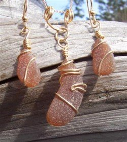 Dark Amber Sea Glass Necklace with Pendant and Earrings