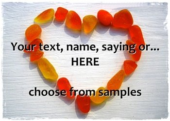 Sea Glass Heart - Red/Orange your text