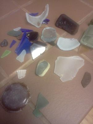 A sample of glass found in one day at Holgate