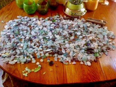 Our take of sea glass at Honolii Beach, Big Island HI