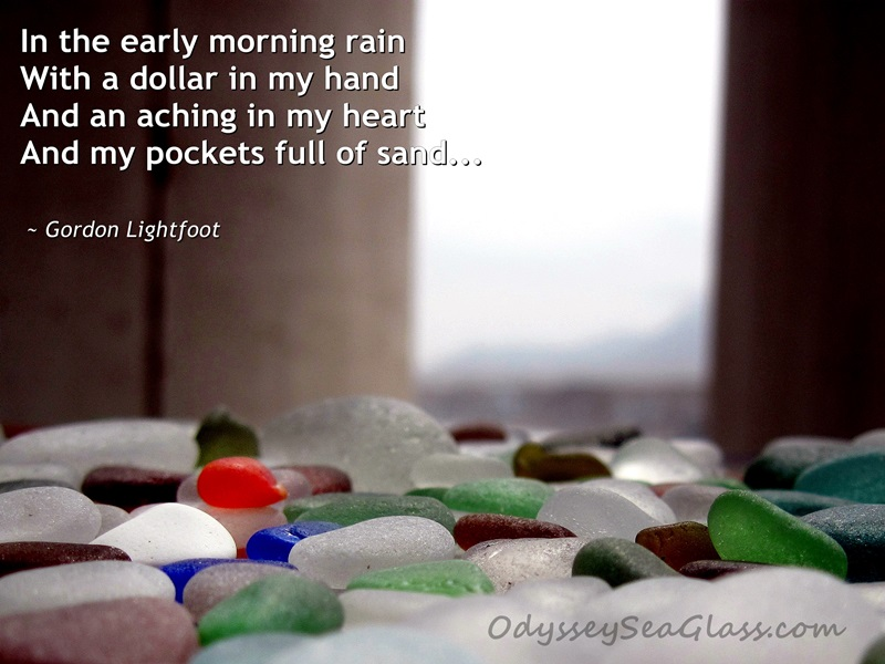 sea glass poster - early morning rain - gordon lightfoot