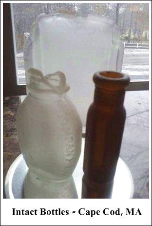 intact bottles of sea glass, Cape Cod, MA