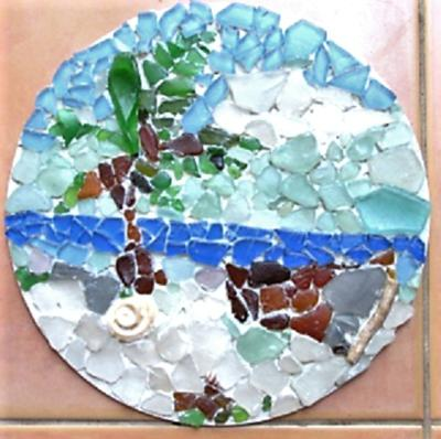 A mix of sea glass and bought mosaic glass