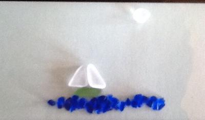 Sail Away Sea Glass Boat on Ocean