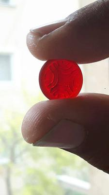 Red sea glass button from Albania