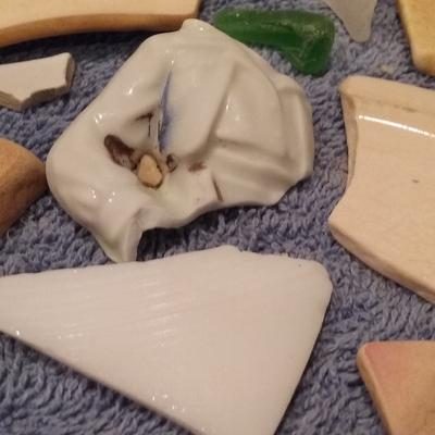 Figurine & Milk Glass Fragments