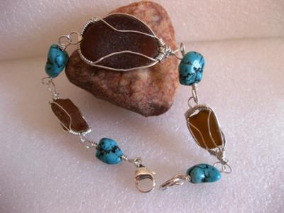 brown sea glass and turquoise