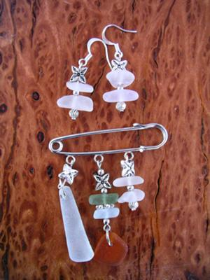 Sea Glass Brooch and Earrings