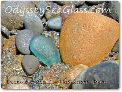 Big Aqua Sea Glass in gravelly section