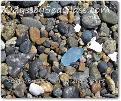 Sea glass in spacy medium blue stands out
