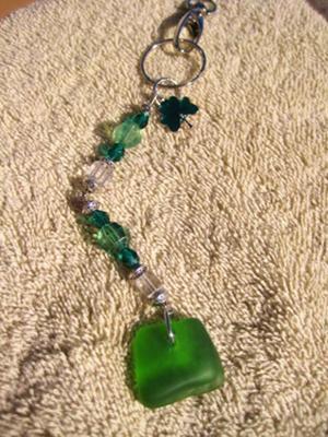 Sea Glass Key Chain - Green
