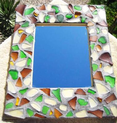 Sea Glass Mosaic Mirror by Christine