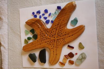 Black  Shard, Sea Glass and Carved Starfish