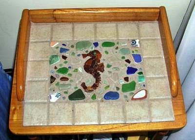 Sea Glass and Tile End Table