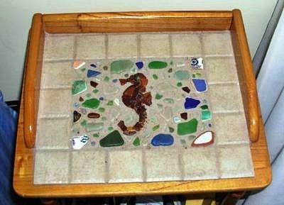 Sea Glass and Tile End Table
