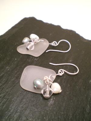 Sea Glass and Pearl Earrings