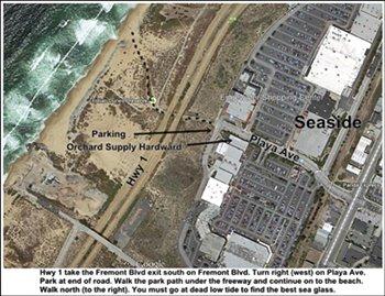map fof sea side sand city sea glass beach