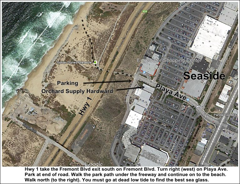 Map for Parking and Trail to Ford Ord Dunes - Seaside Beach - Sand City, Monterey Bay, CA, USA