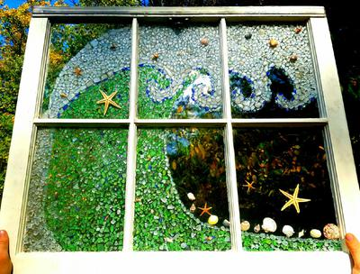 Waves - sea glass window