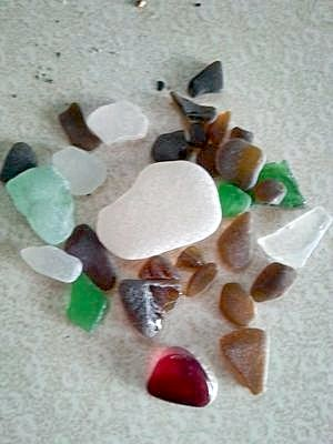 Walking the dog pays off in sea glass in red