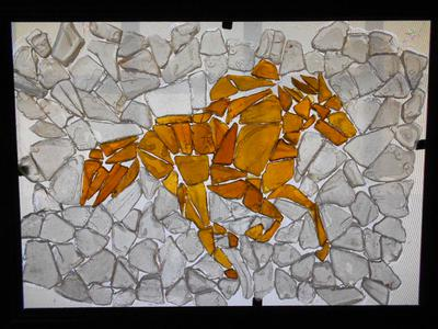 Horse & Jockey Sea Glass Art